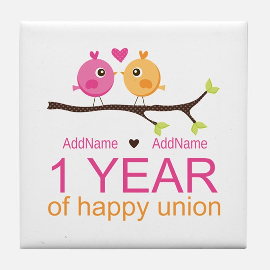 1st Anniversary Personalized Tile Coaster