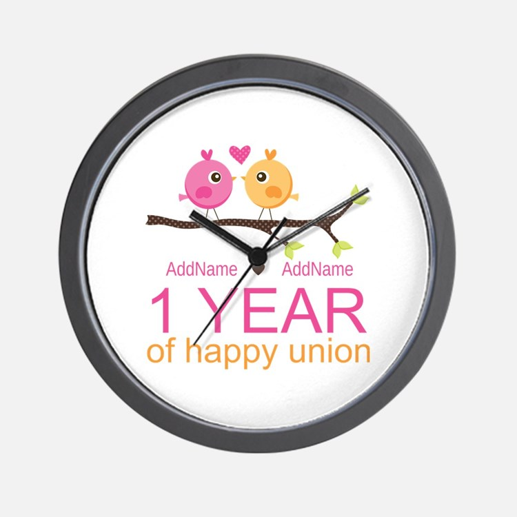 1st Anniversary Personalized Wall Clock