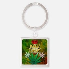 Keep Calm and Marijuana Leaf Keychains