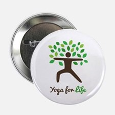 "Yoga For Life Warrior Pose Tree 2.25"" Button"
