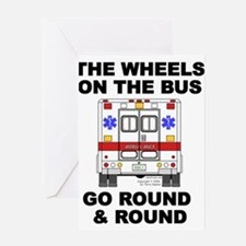 ems_bus_wheels_go_round2 Greeting Cards