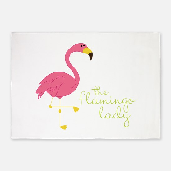 The Flamingo Lady 5'x7'Area Rug