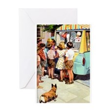Ice Cream Truck, Vintage Poster Greeting Cards