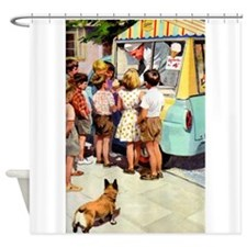 Ice Cream Truck, Vintage Poster Shower Curtain