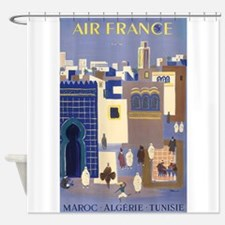 Maroc Algerie;travel Vintage Poster Shower Curtain