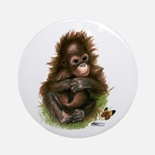 Orangutan Baby And Butterfly Ornament (round)
