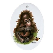 Orangutan Baby And Butterfly Ornament (oval)