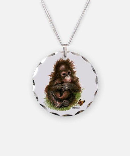Orangutan Baby And Butterfly Necklace