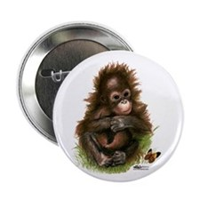 """Orangutan Baby And Butterfly 2.25"""" Button"""