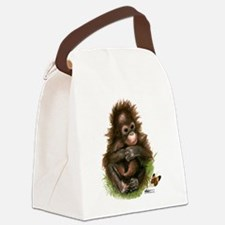 Orangutan Baby and Butterfly Canvas Lunch Bag