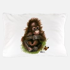 Orangutan Baby And Butterfly Pillow Case