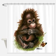 Orangutan Baby And Butterfly Shower Curtain