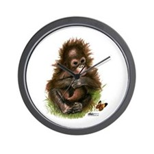 Orangutan Baby And Butterfly Wall Clock