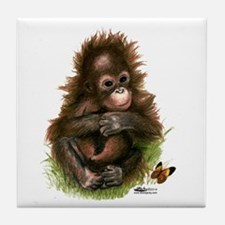 Orangutan Baby And Butterfly Tile Coaster