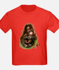 Orangutan Baby And Butterfly T-Shirt