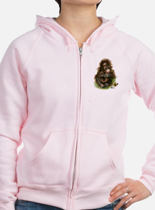 Orangutan Baby And Butterfly Zipped Hoody