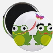 Froggy Couple Sharing a Bug Magnets