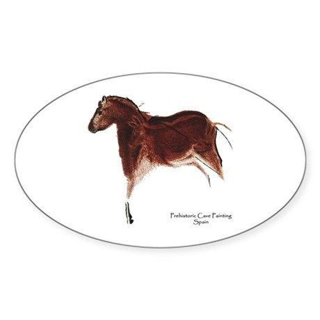 Horse Cave Painting Oval Sticker