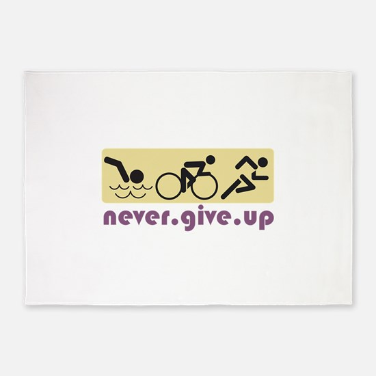 Never Give Up 5'x7'Area Rug