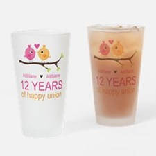12th Wedding Anniversary Drinking Glass