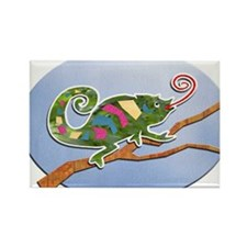 Colorful Cut Paper Chameleon Magnets