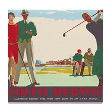 North Berwick, Golf, Vintage Poster Tile Coaster