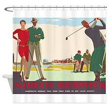 North Berwick, Golf, Vintage Poster Shower Curtain