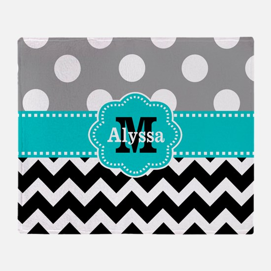 Gray Black Teal Dots Chevron Personalized Throw Bl