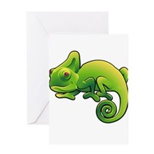 Green Chameleon with Purple Eyes Greeting Cards