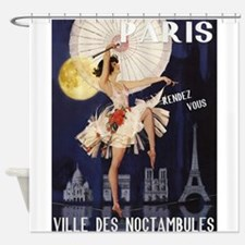 Paris Vintage Poster Shower Curtain