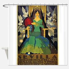 Sevilla, Spain Vintage Poster Shower Curtain