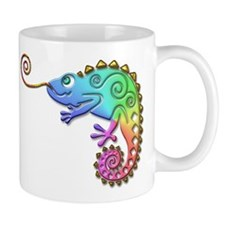 Rainbow Chameleon with Gold Tongue Mugs