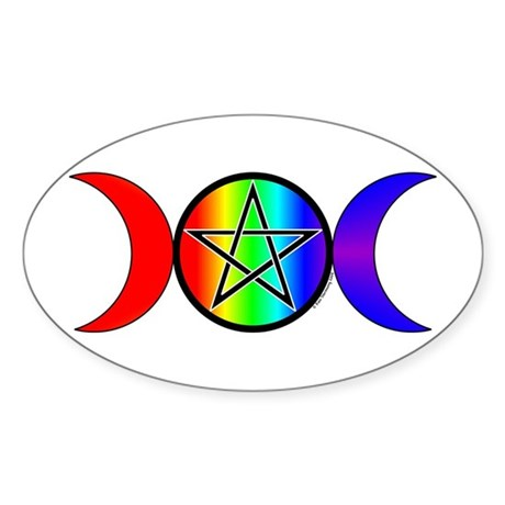 Triple Moon Pentacle Rainbow Sticker