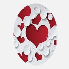 Red Hearts Ornament (Oval)