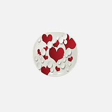 Red Hearts Mini Button
