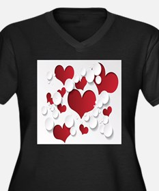 Red Hearts Plus Size T-Shirt