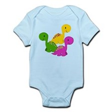 Colorful Baby Dino Triplets Body Suit