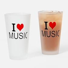 I Love Music Drinking Glass