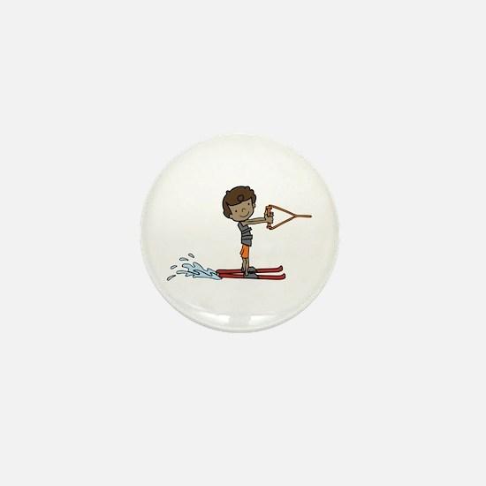 Water Ski Boy Mini Button