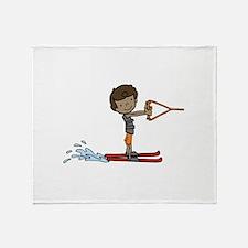 Water Ski Boy Throw Blanket