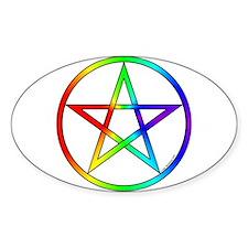 Rainbow Pentacle Oval Decal