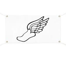 Flying running shoe Banner