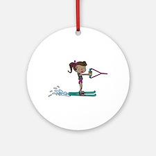 Water Ski Girl Ornament (Round)