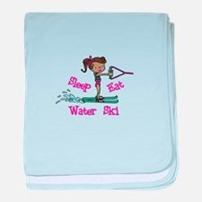 Sleep Eat Water Ski baby blanket