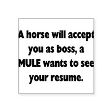 A horse will accept you as boss, a MULE wants resu