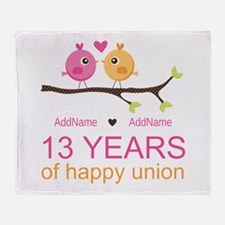 13th Anniversary Personalized Throw Blanket