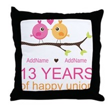 13th Anniversary Personalized Throw Pillow