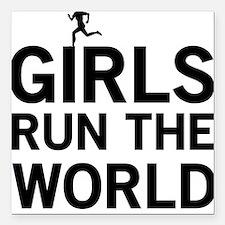 "Girls run the world Square Car Magnet 3"" x 3"""