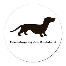 Elementary, My Dear Dachshund Round Car Magnet