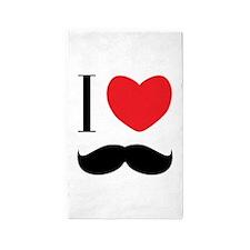I Love Mustache 3'x5' Area Rug